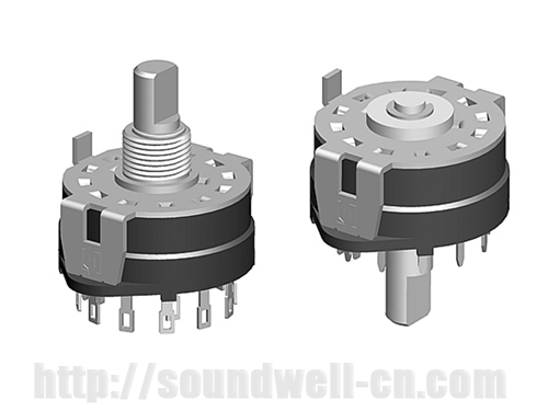 RS25 metal shaft rotary multi-way switch, band switching multiplexer ...